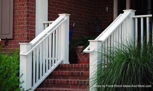 Stair Hand Rails For Porches And Decks | Handrails For Outside Steps | Single Step | Rustic | Aluminum | Front Porch | Walkway