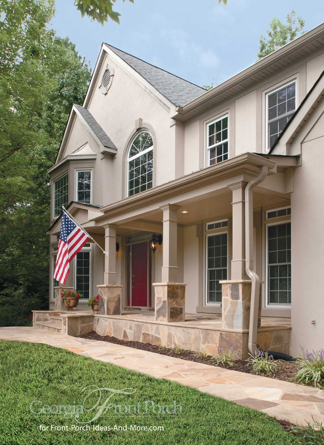 Stylish Front Porch Designs | Stone Front Porch Steps Designs | House | Stained Concrete | Round | Stone Walkway | Flagstone