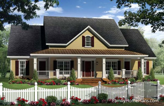 Fantastic House Plans Online   House Building Plans   House Design     Country cottage home with front porch by Family Home Plans