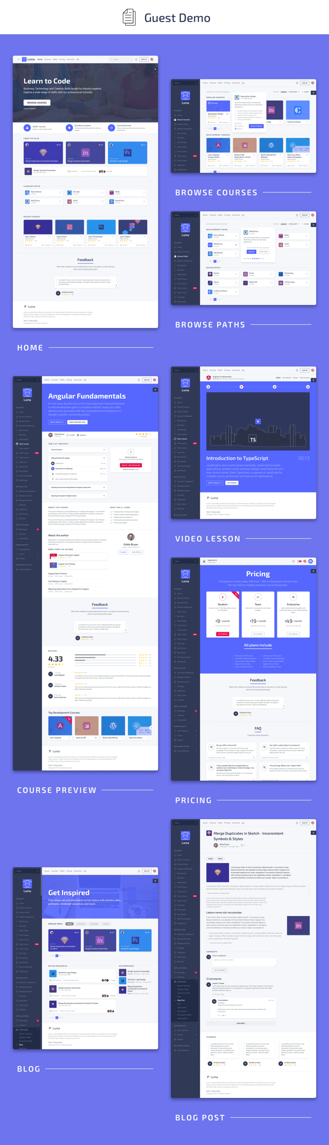, Luma Laravel LMS & Vue Education Admin Dashboard Template, Laravel & VueJs