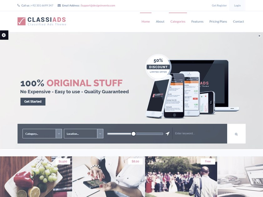 Classiads Affiliate WordPress Theme by DesignInvento