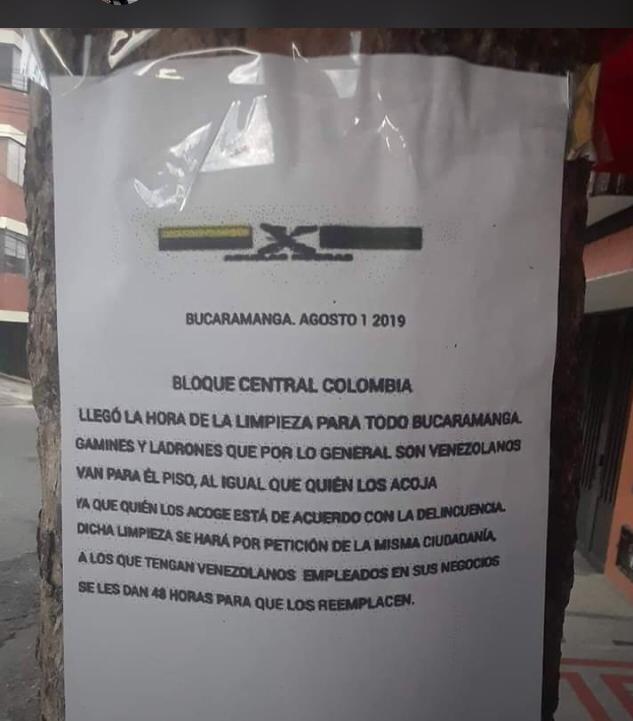 Panfleto amenaza a venezolanos en Bucaramanga