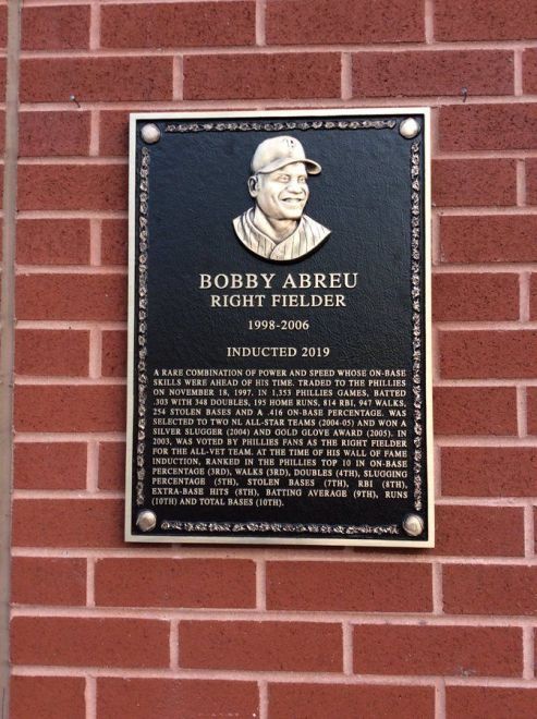 La placa de Bob Abreu en el estadio de Philadelphia