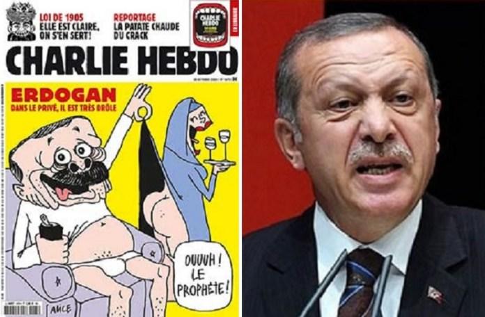 De aap in Ankara op de voorpagina van Charlie Hebdo na de aanval op Macron