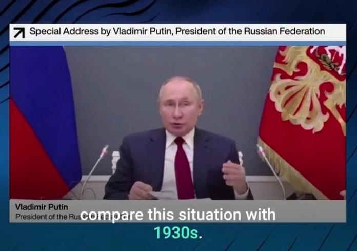 """Poetin waarschuwt voor wereldoorlog en """"ondergang van de beschaving"""""""