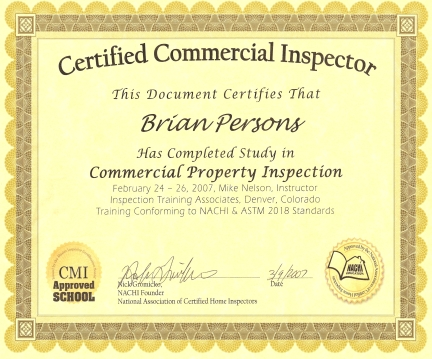 commercial inspector certificate small