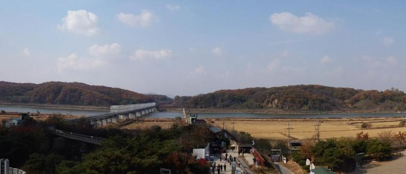 The DMZ, with the Bridge of Freedom leading to North Korea.
