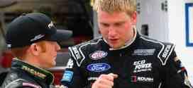 Chris Buescher in the garage at Bristol Motor Speedway