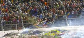Austin Dillon's car goes airbornin a last-lap crash at Daytona in the Coke Zero 400