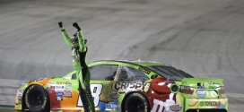 Kyle Bsuch celebrates his win in the 2015 Quaker State 400 at Kentucky Speedway