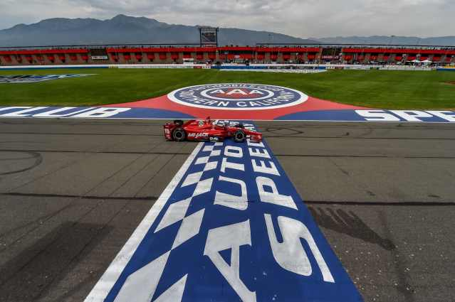 Graham Rahal winning at Auto Club Speedway in Fontana in IndyCar
