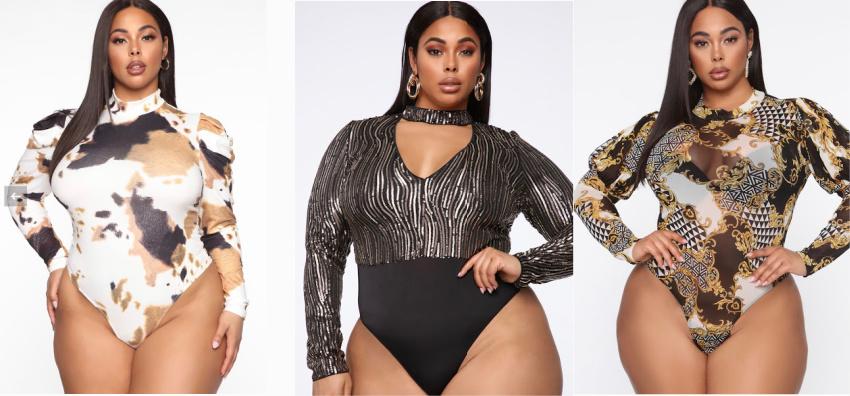 Plus Size Full Bodysuit Tops 1