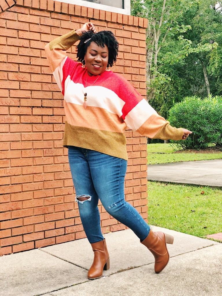 Target Colorblock Fall Plus Size Sweater