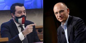 """Governo, scontro Salvini-Letta. Il leader del Pd: """"Se non vuoi le riforme, esci""""."""