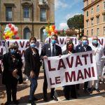 ALL'UMBERTO I di Roma, Flash Mob per la giornata dell'igiene delle mani.