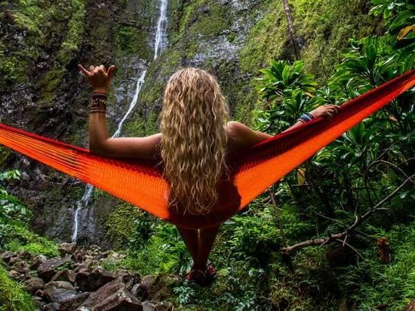 Hanging in a hammock in Hawaii