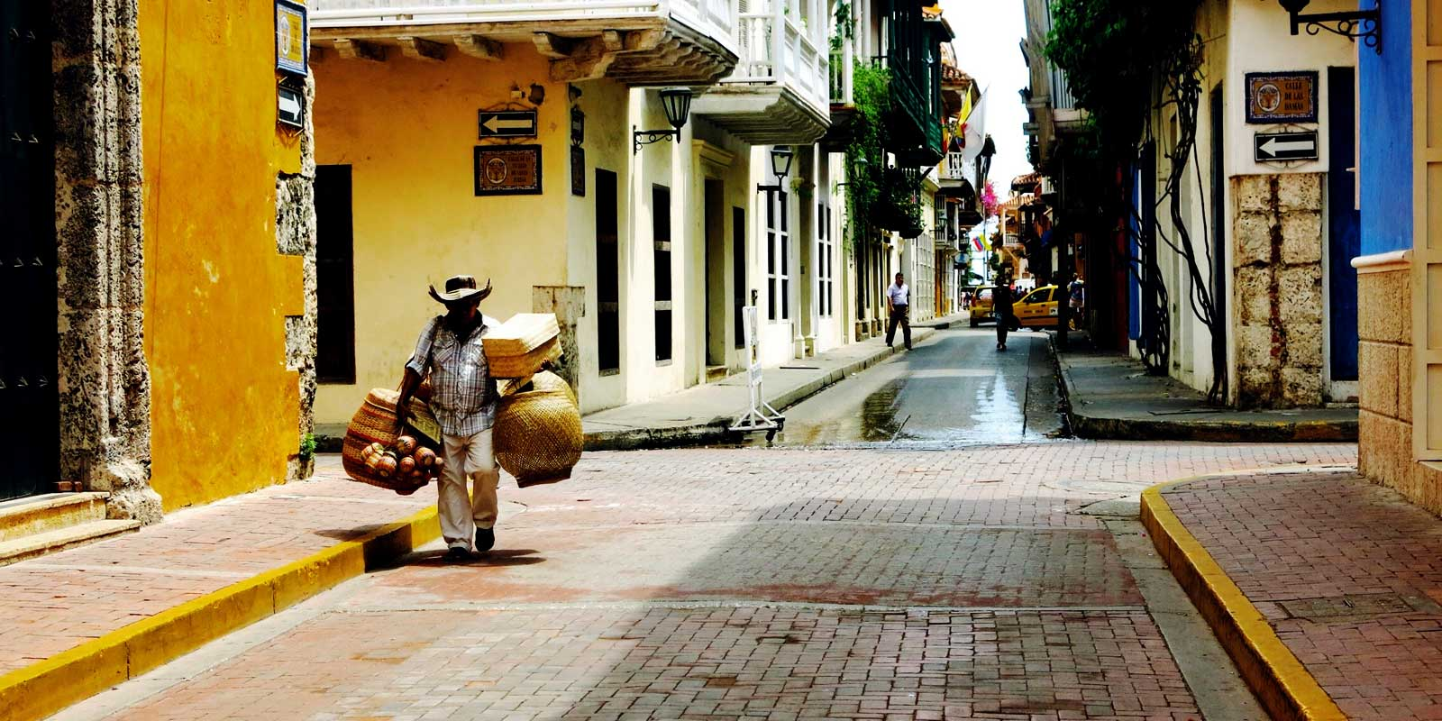Travel colorfully in Cartagena, off the Caribbean coast of Colombia.