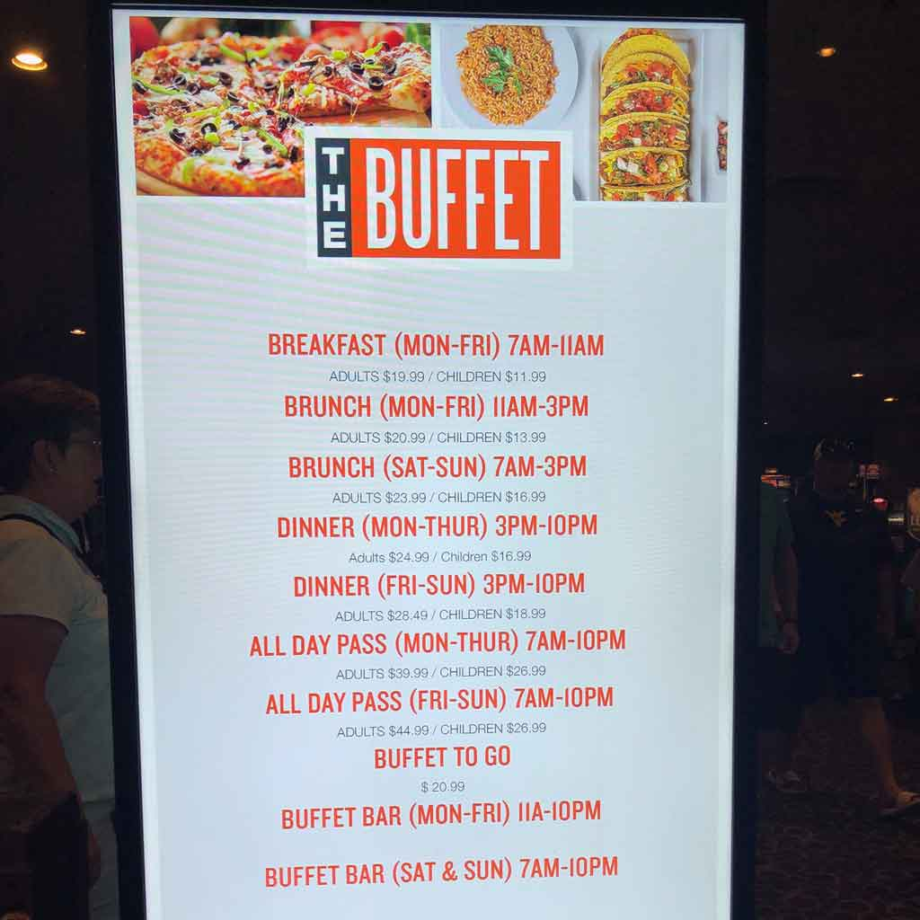 Closeup of the top half of a sign for The Buffet at Luxor in Las Vegas.