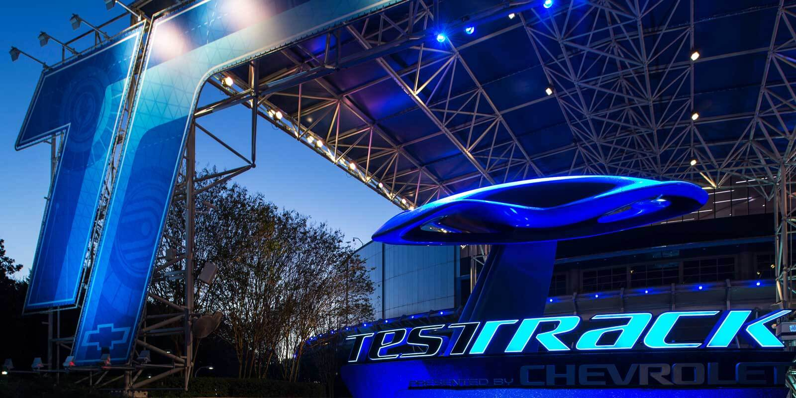 Closeup of the Epcot ride, Test Track, during early evening.