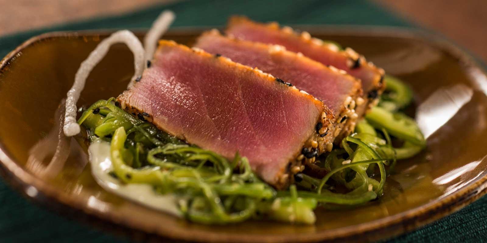 Close up of a small plate of tuna tataki