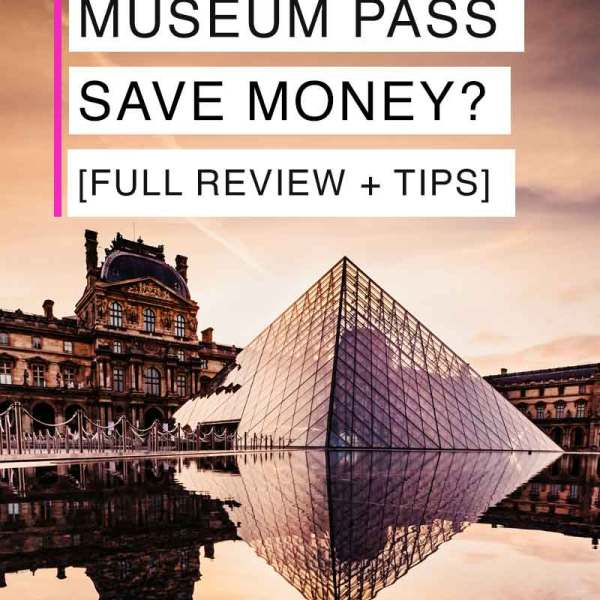 Landscape view of the Louvre Museum, including the iconic glass pyramid.