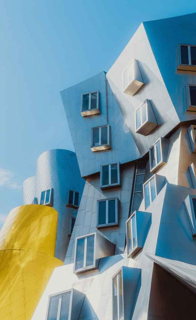 Snapshot of the oddly shaped Ray and Maria Stata Center built by famous architect Frank Gehry.