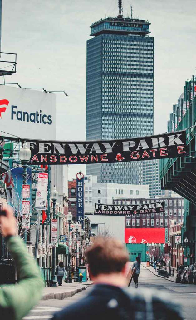 Landscape view of Gate E of Fenway Park with the Prudential tower in the background.