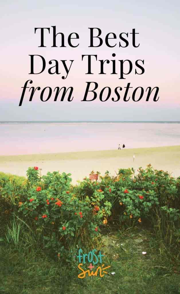 """Landscape view of rocky coastline and a small cottage in Provincetown with a rainbow cascading behind the cottage. Overlying text reads """"35 Delightful Day Trips from Boston."""""""