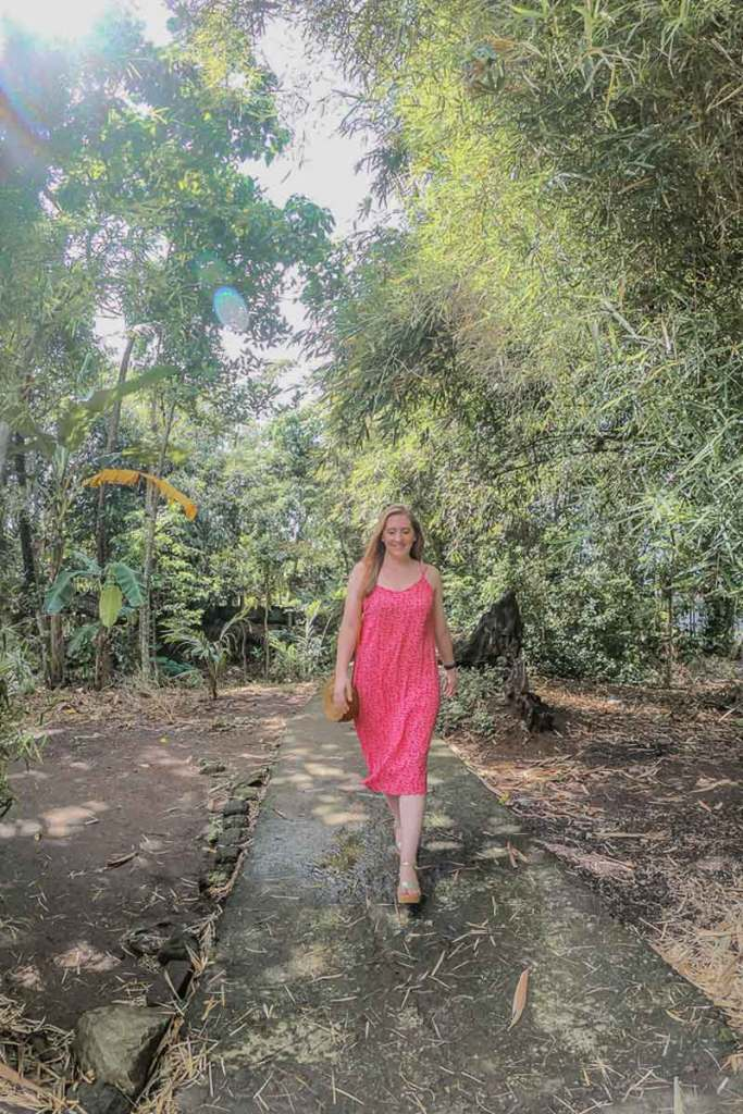 Female travel blogger walking down a path in a tropical forest