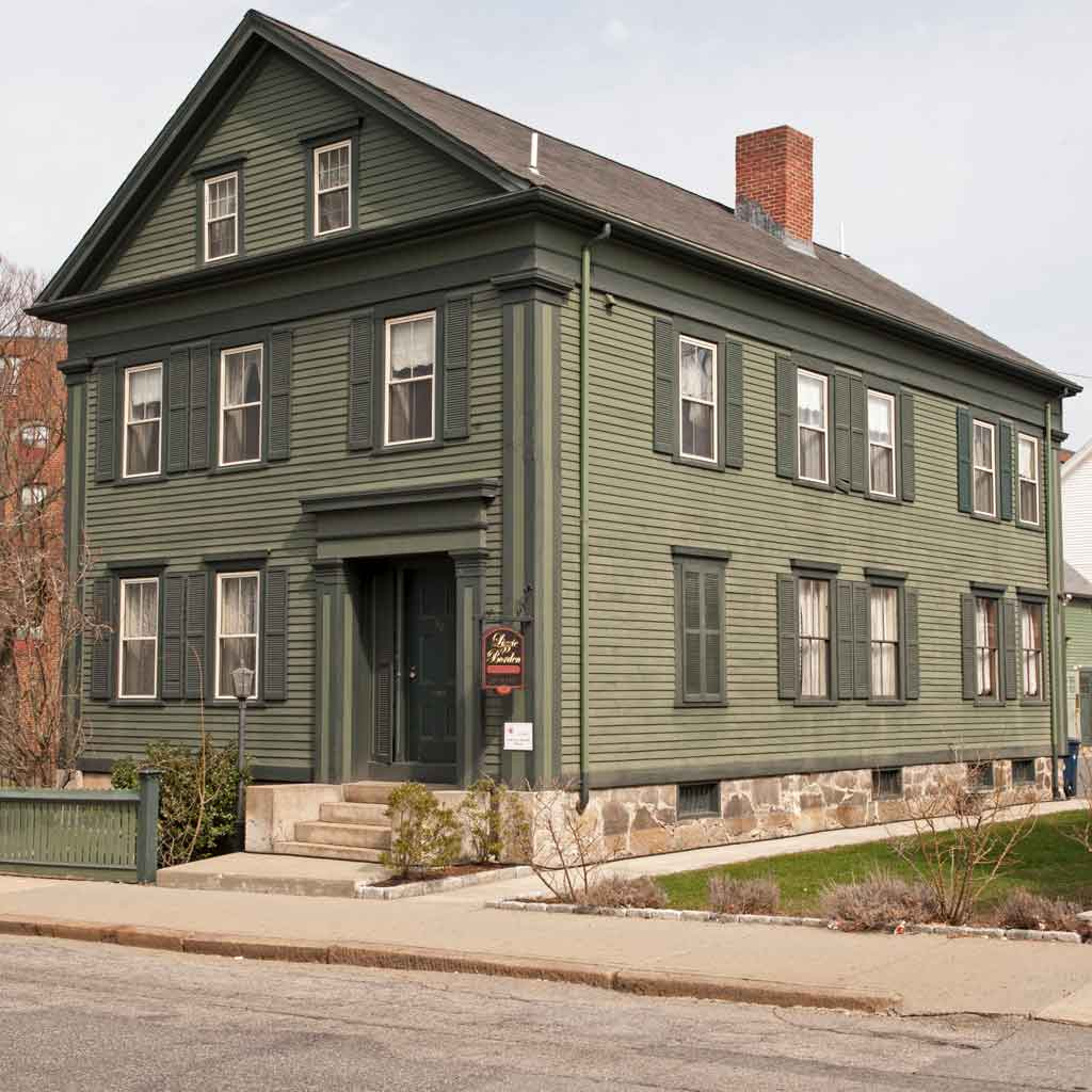 Closeup of infamously alleged murderer Lizzie Borden's home.
