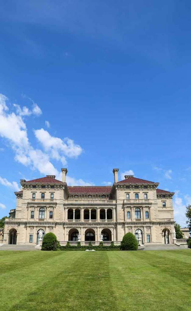 The Breakers mansion in Newport, RI, as pictured here, is one of many mansions you can tour on a day trip from Boston, MA.