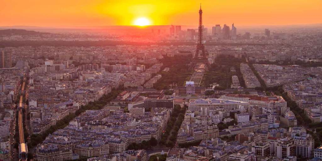 Aerial view of the city of Paris, France during sunset