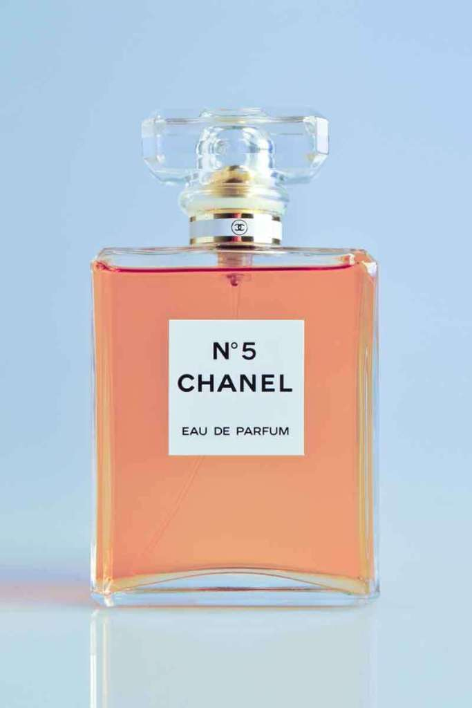 Closeup photo of a bottle of Coco Chanel Number 5 perfume