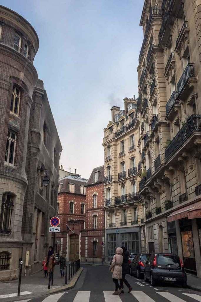 Photo of a historical street in Le Marais in Paris.