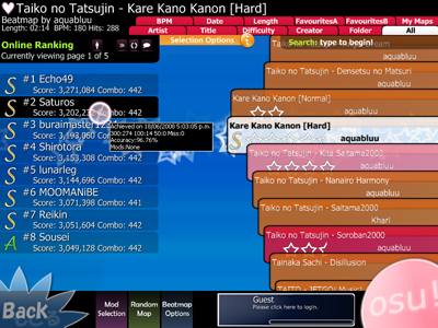 Osu! Ranking and Game Interface