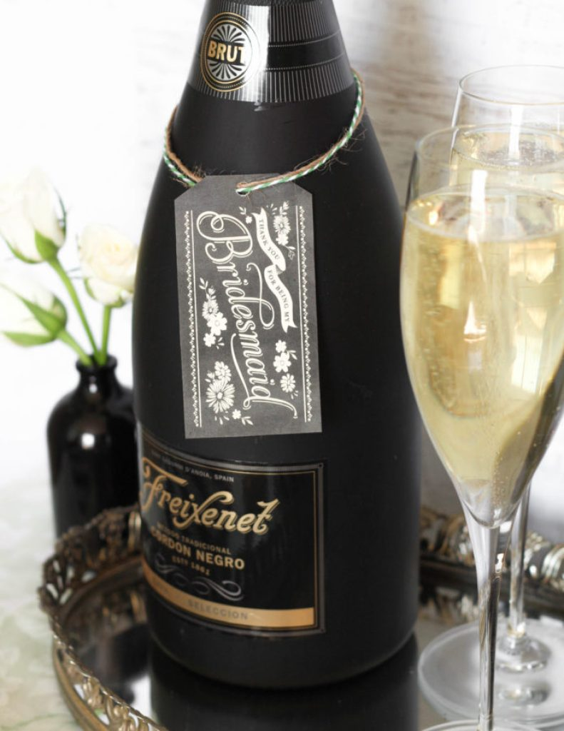 Freixenet champagne and sweets bridal suite table tutorial DIY 7