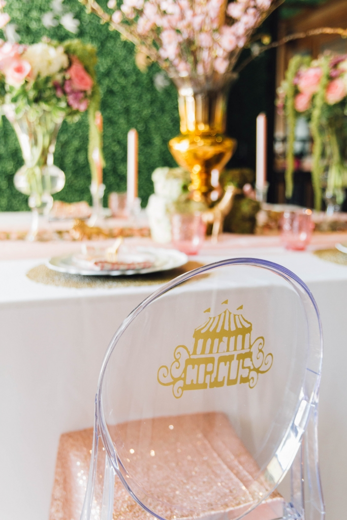 Luxe Circus Pink Gold Baby Shower Dessert Table