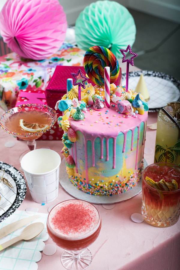 Colorful Adult Birthday Party Cake