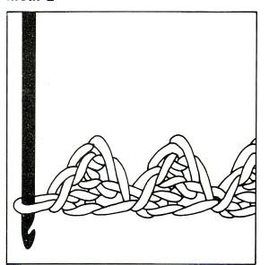 picot sur parties crochetées