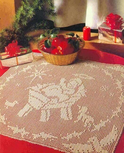 CROCHET : napperon de Noël NATIVITÉ tutoriel gratuit