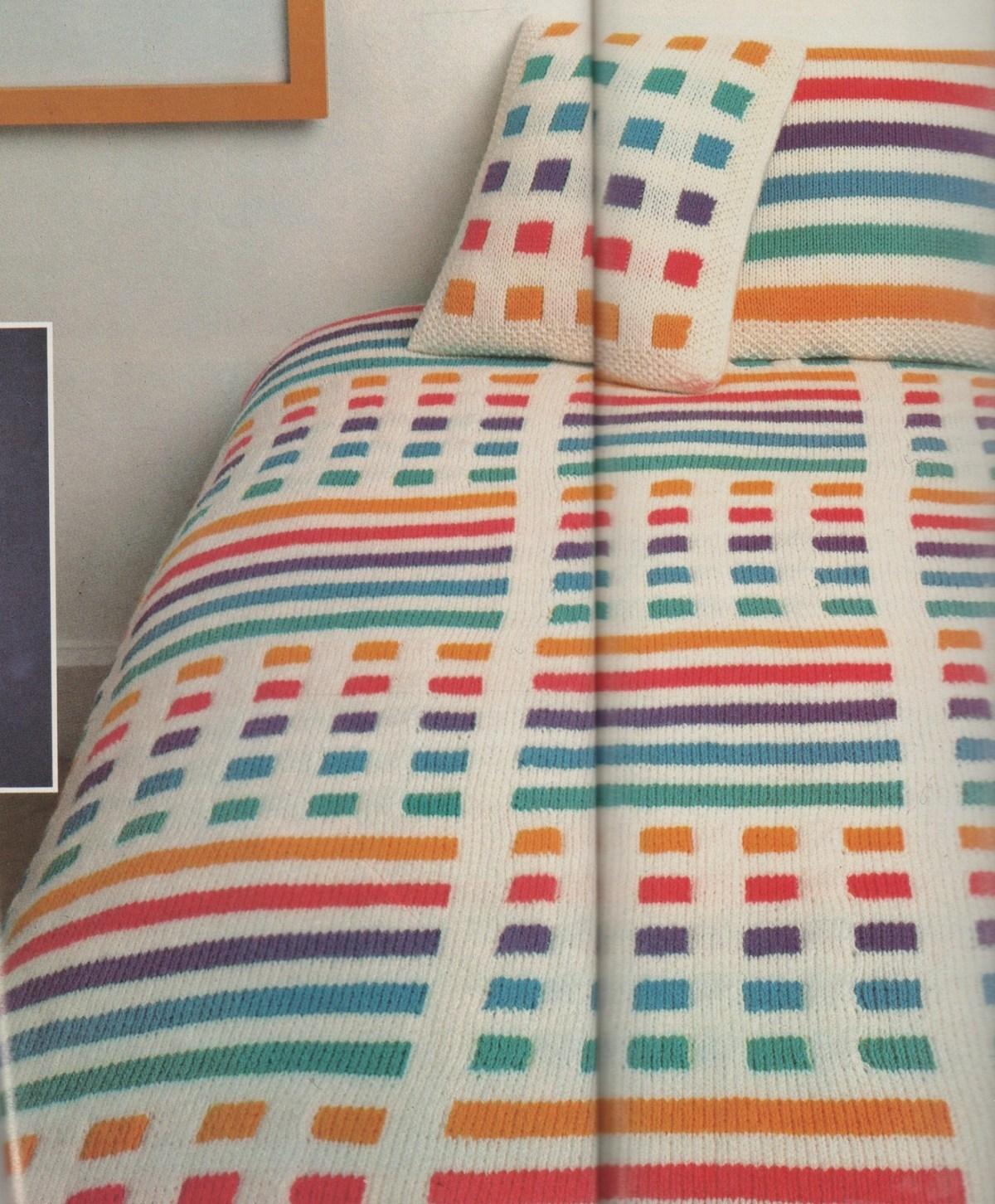 TRICOT : dessus de lit COULEURS tutoriel gratuit