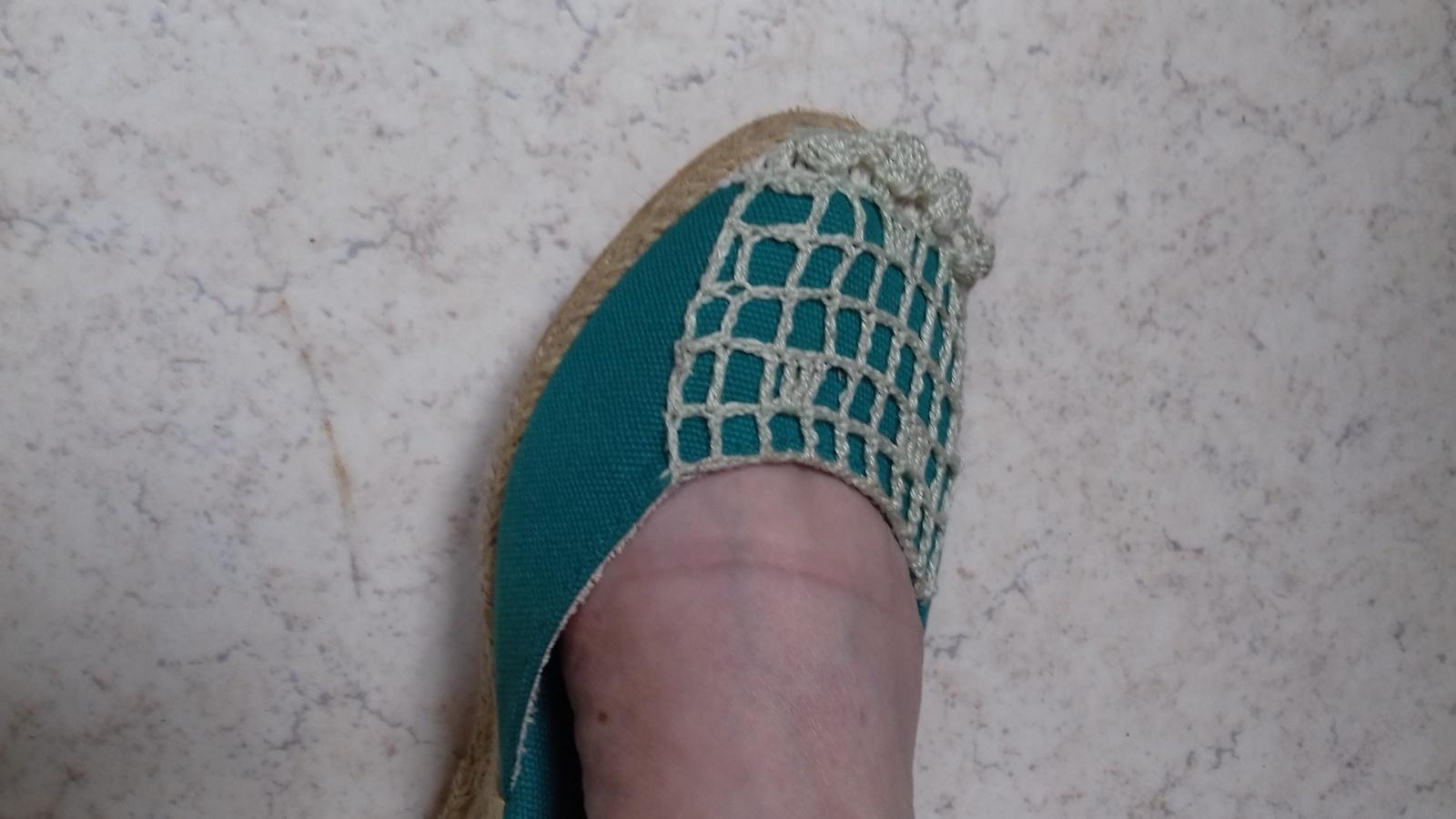 CROCHET : dessus d'espadrille vert clair TUTORIEL GRATUIT