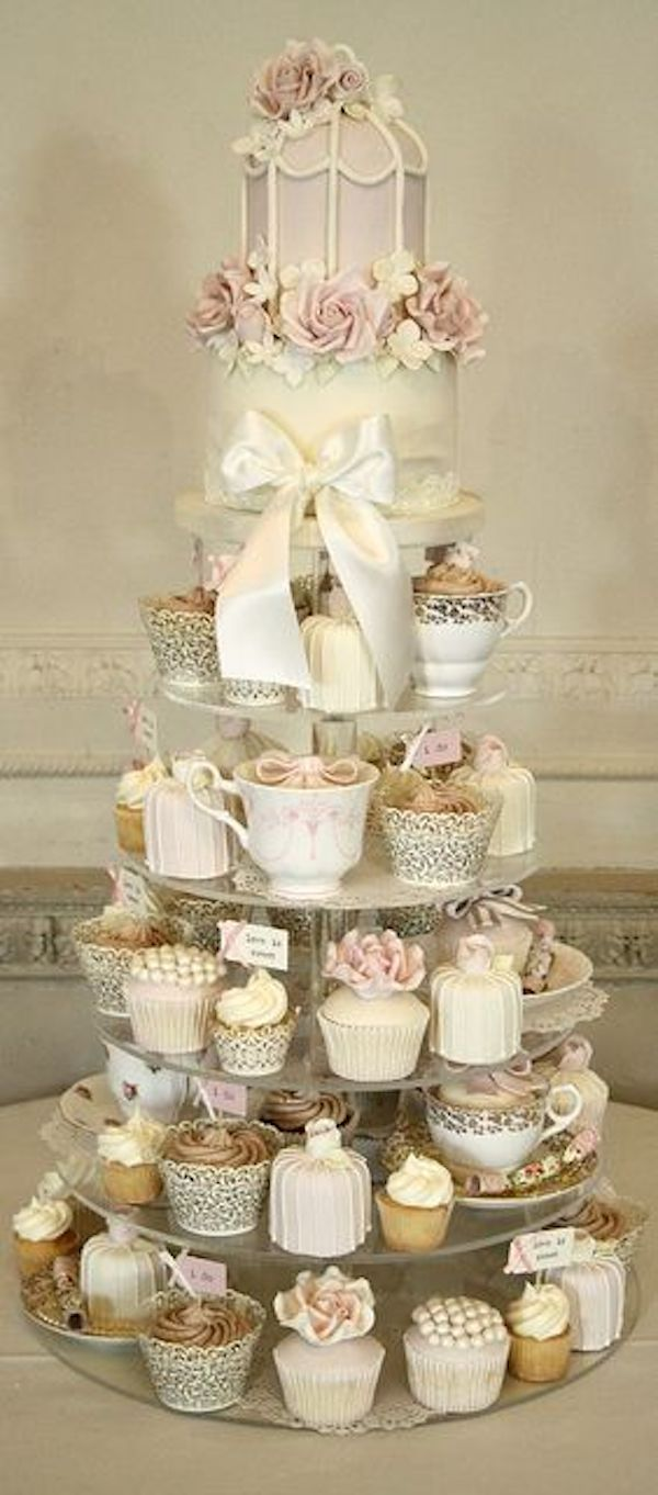 Wedding Cakes Archives   FrouFrou Le Bleu     wedding cake alternatives cupcake tower vintage inspired cupcake