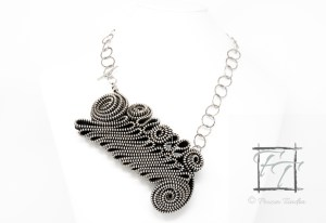 Black and silver folded zipper necklace