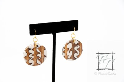 Protectionary Confectionery - coconut and buri palm wood earrings