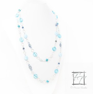 Tropical Oasis: a shimmery light blue rope necklace