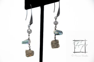 Baroque pearl and pyrite dangle earrings in gunmetal