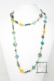 Happiness: teal and gold rope necklace
