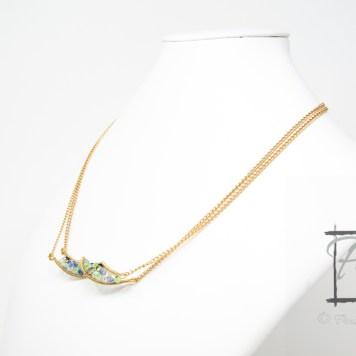 light gold DNA strand necklace