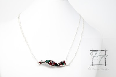 Dark silver double-strand double helix DNA strand necklace